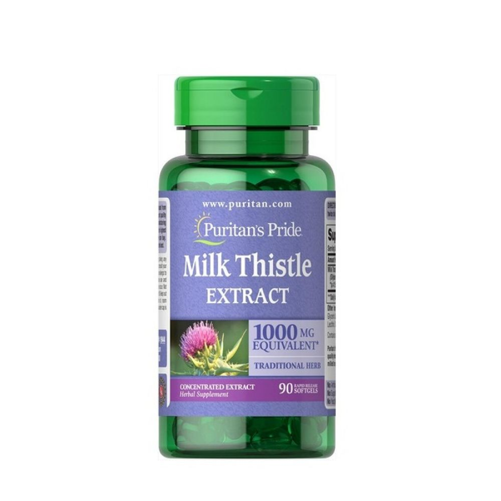Milk Thistle Extract 1000mg Equivalent 90 Softgels, Puritans Pride