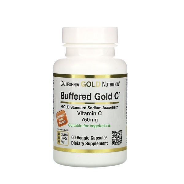 Buffered Vitamin C 750mg 60 Veg Caps, California GOLD Nutrition