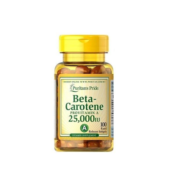 Beta-Carotene 25.000iu 100 Softgels, Puritans Pride