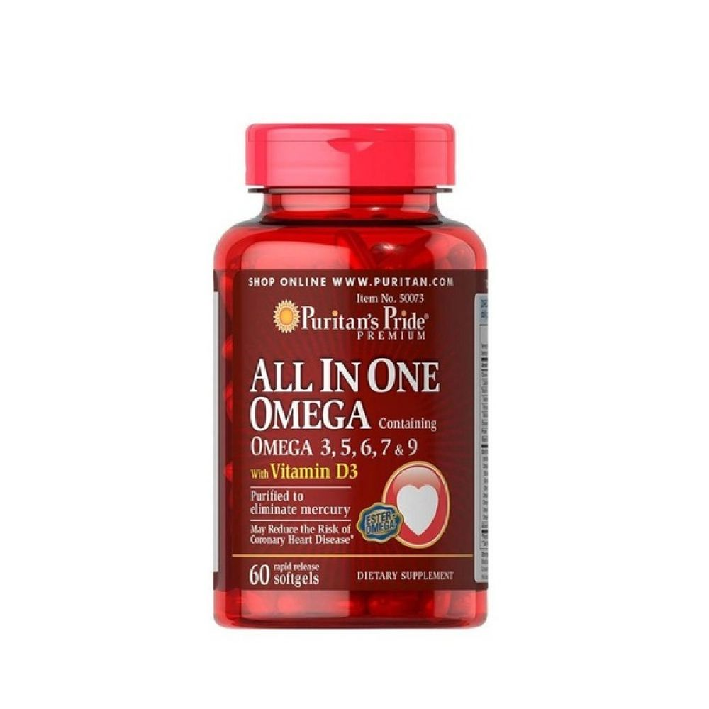 All In One Omega 3, 5, 6, 7 & 9 With Vitamin D3 60 Softgels, Puritans Pride