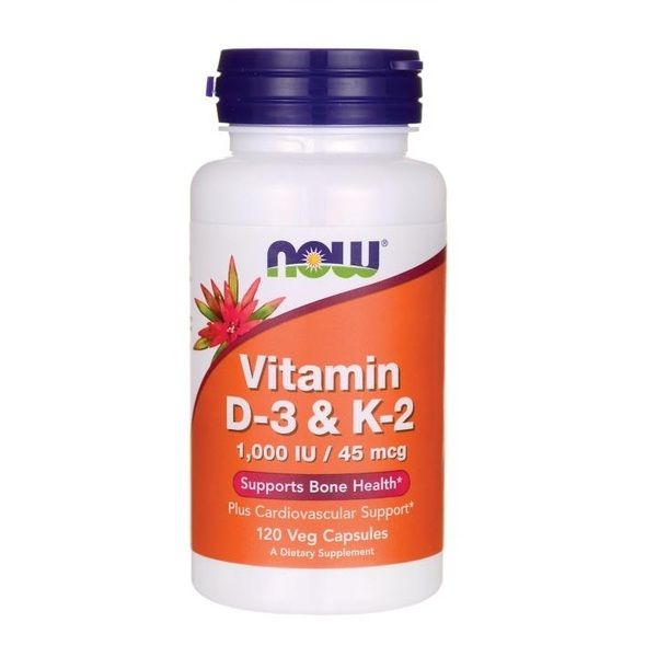 Vitamin D-3 & K-2 120 Veg Caps, NOW Foods