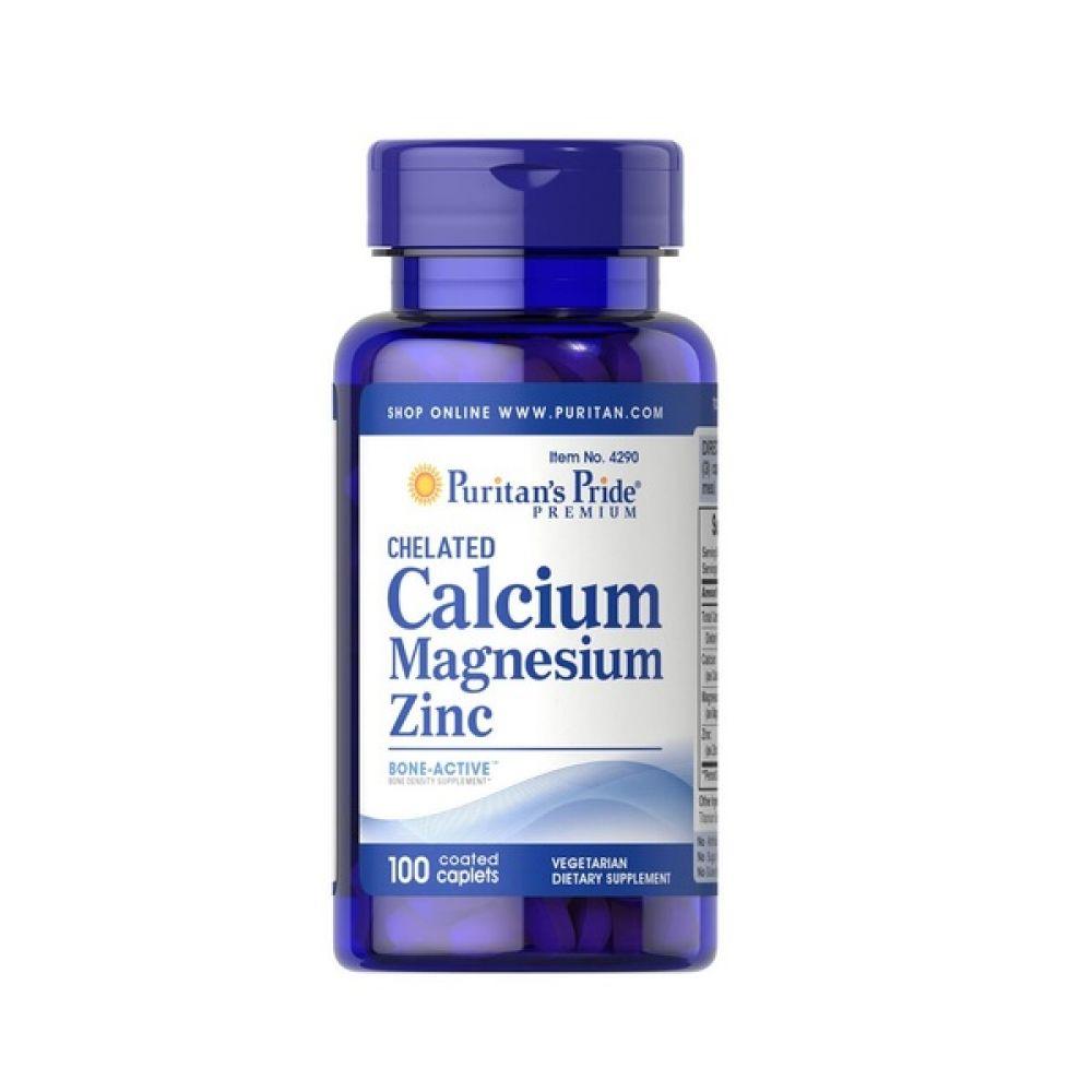 Chelated Calcium, Magnesium, Zinc 100 Tabs, Puritans Pride
