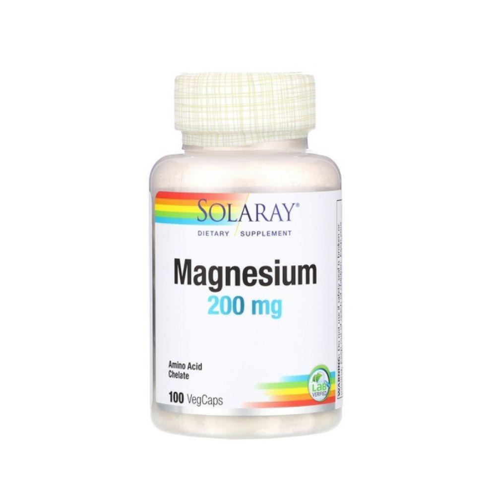 Magnesium 200mg 100 Veg Caps, Solaray