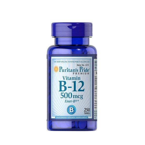 Vitamin B-12 500mcg 100 Tabs, Puritans Pride