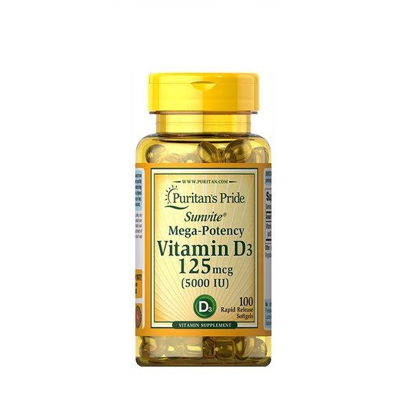 Vitamin D3 5000iu 100 Softgels, Puritans Pride