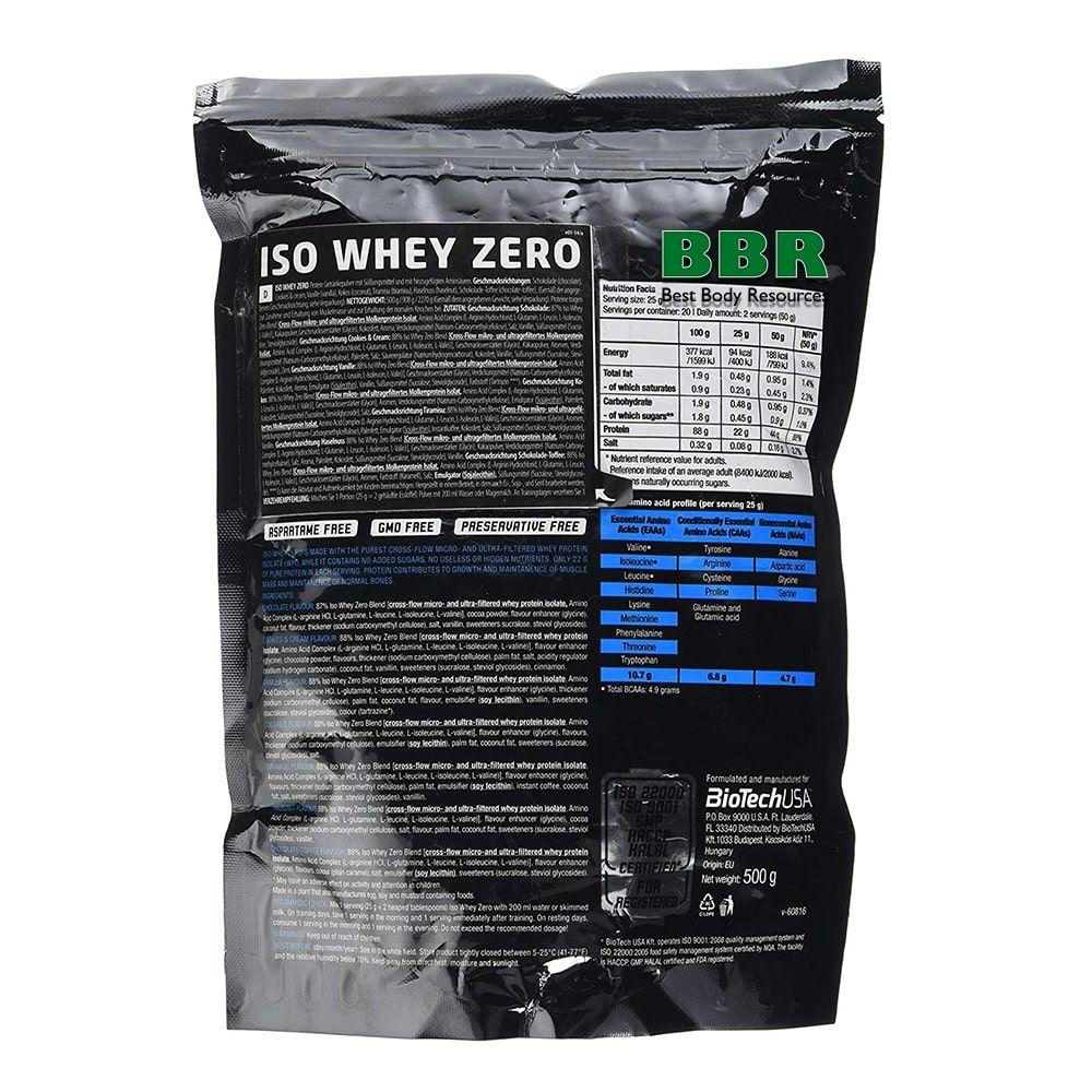 Iso Whey Zero Lactose Free 500g bag, BioTech