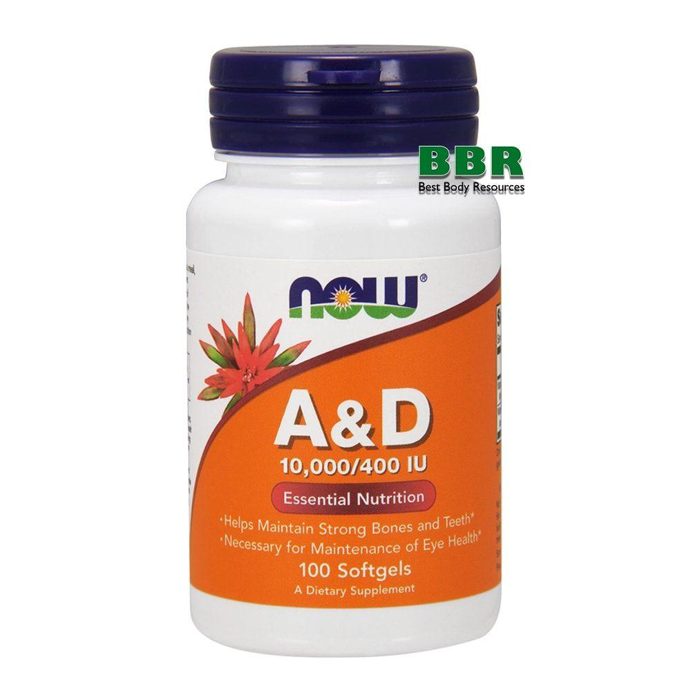 A&D 10000/400 IU 100 Caps, NOW Foods