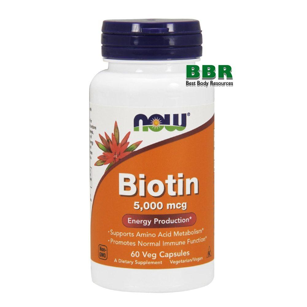 Biotin 5000mcg 60 Caps, NOW Foods