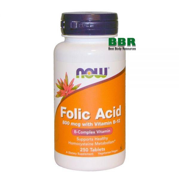 Folic Acid 800mcg with Vitamin B-12 250 Tab, NOW Foods
