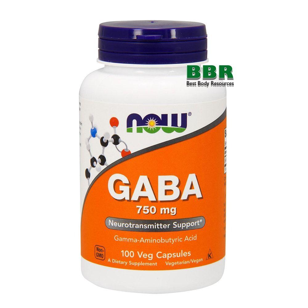GABA 750mg 100 Caps, NOW Foods