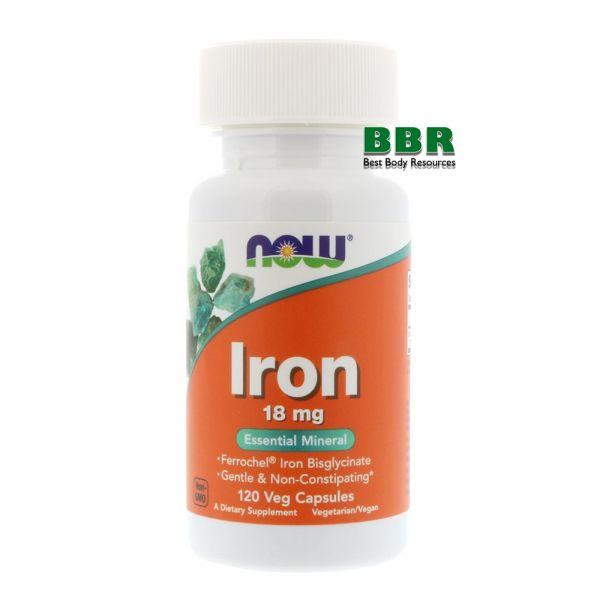 Iron 18mg 120 Caps, NOW Foods