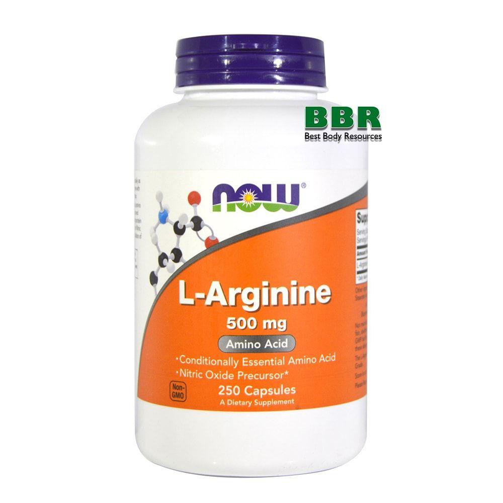 L-Arginine 500mg 250 Caps, NOW Foods