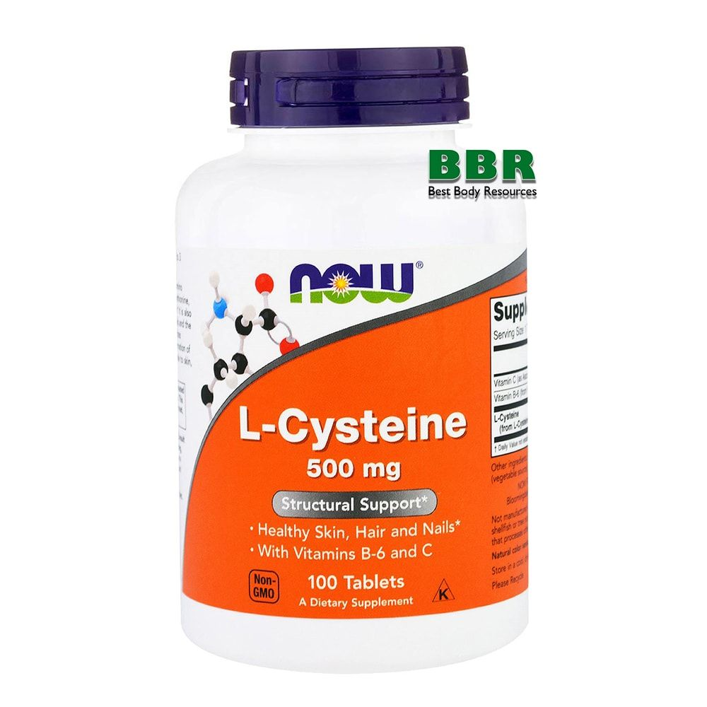 L-Cysteine 500mg 100 Tab, NOW Foods