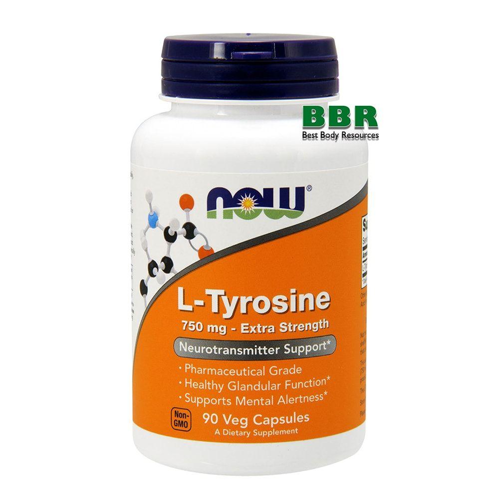 L-Tyrosine 750mg 90 Caps, NOW Foods