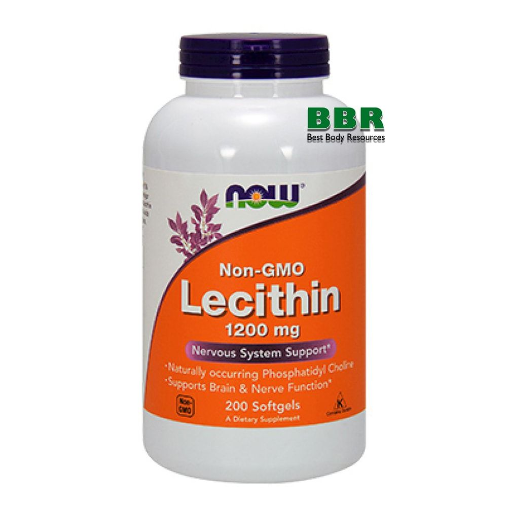 Lecithin 1200mg 200 Softgels, NOW Foods