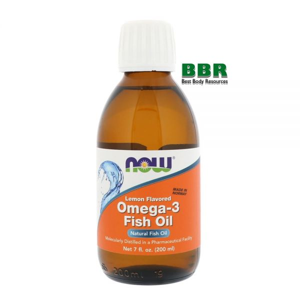Omega 3 Fish Oil Lemon Flavored 200ml, NOW Foods