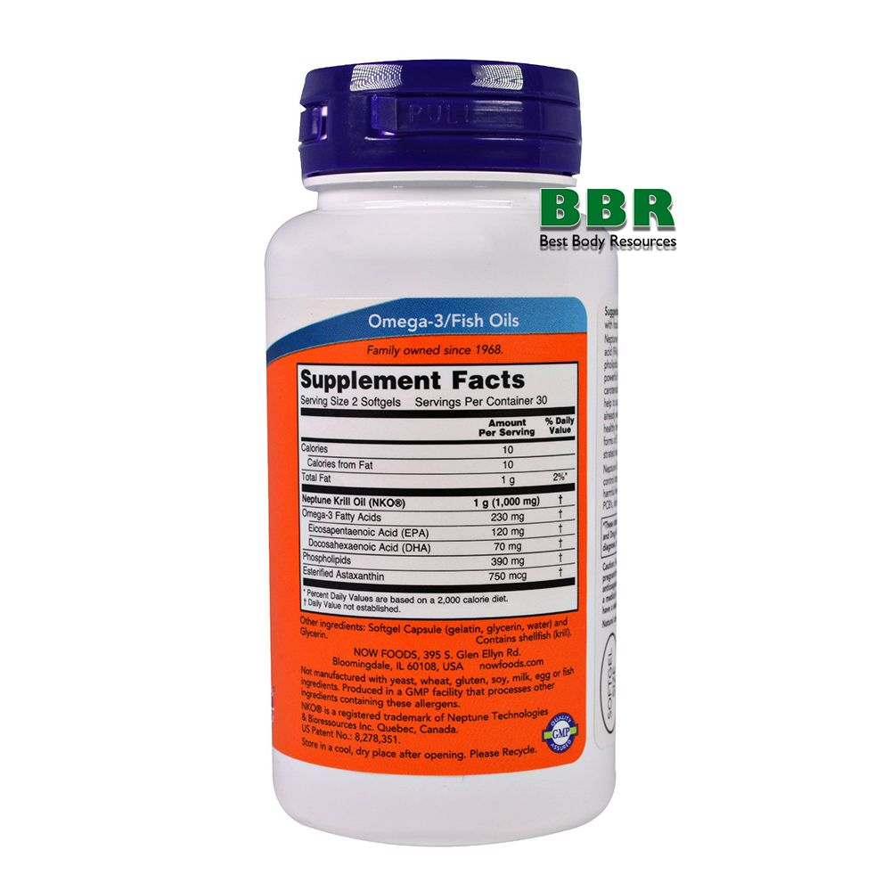 Krill Oil 500mg 60 Softgels, NOW Foods