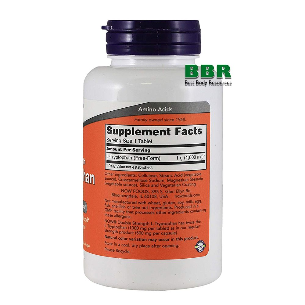 L-Tryptophan 1000mg 60 Tab, NOW Foods