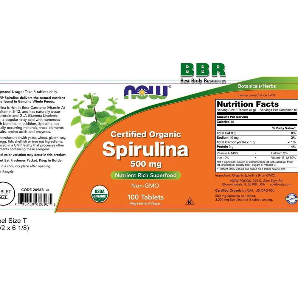 Spirulina 500mg 100 Tab, NOW Foods