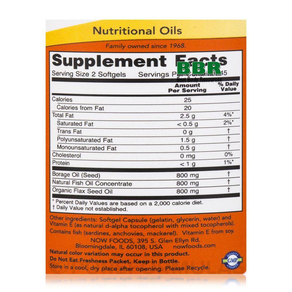 Super Omega 3-6-9 1200mg 90 Softgels, NOW Foods