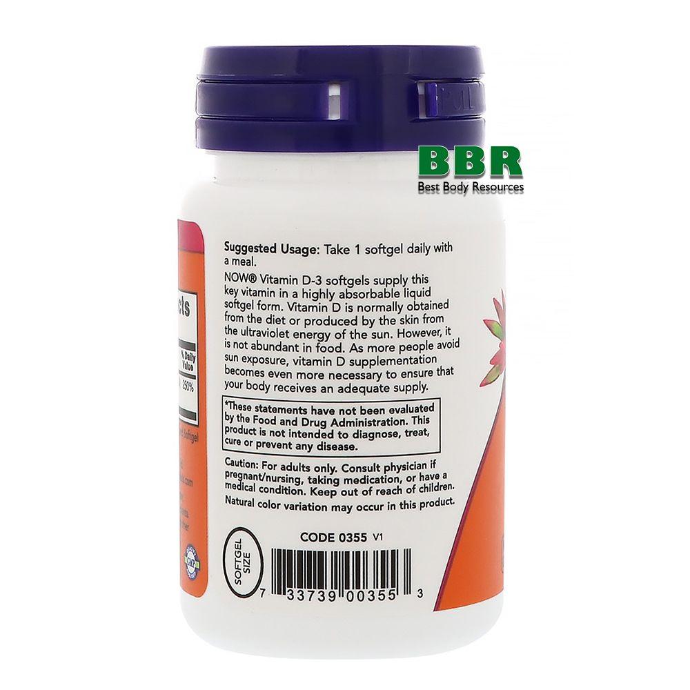Vitamin D-3 2000IU 30 Softgels, NOW Foods