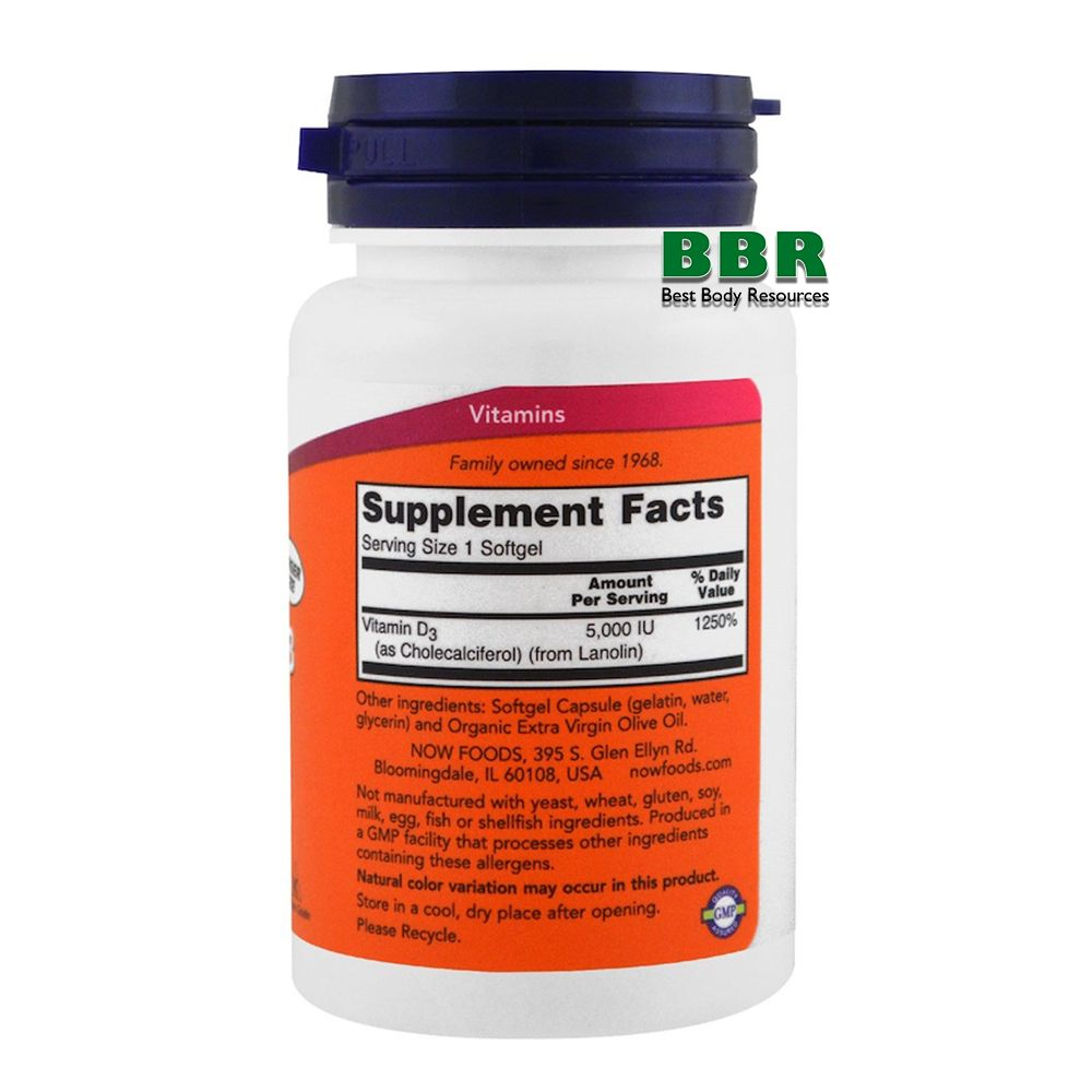 Vitamin D-3 5000IU 240 Softgels, NOW Foods
