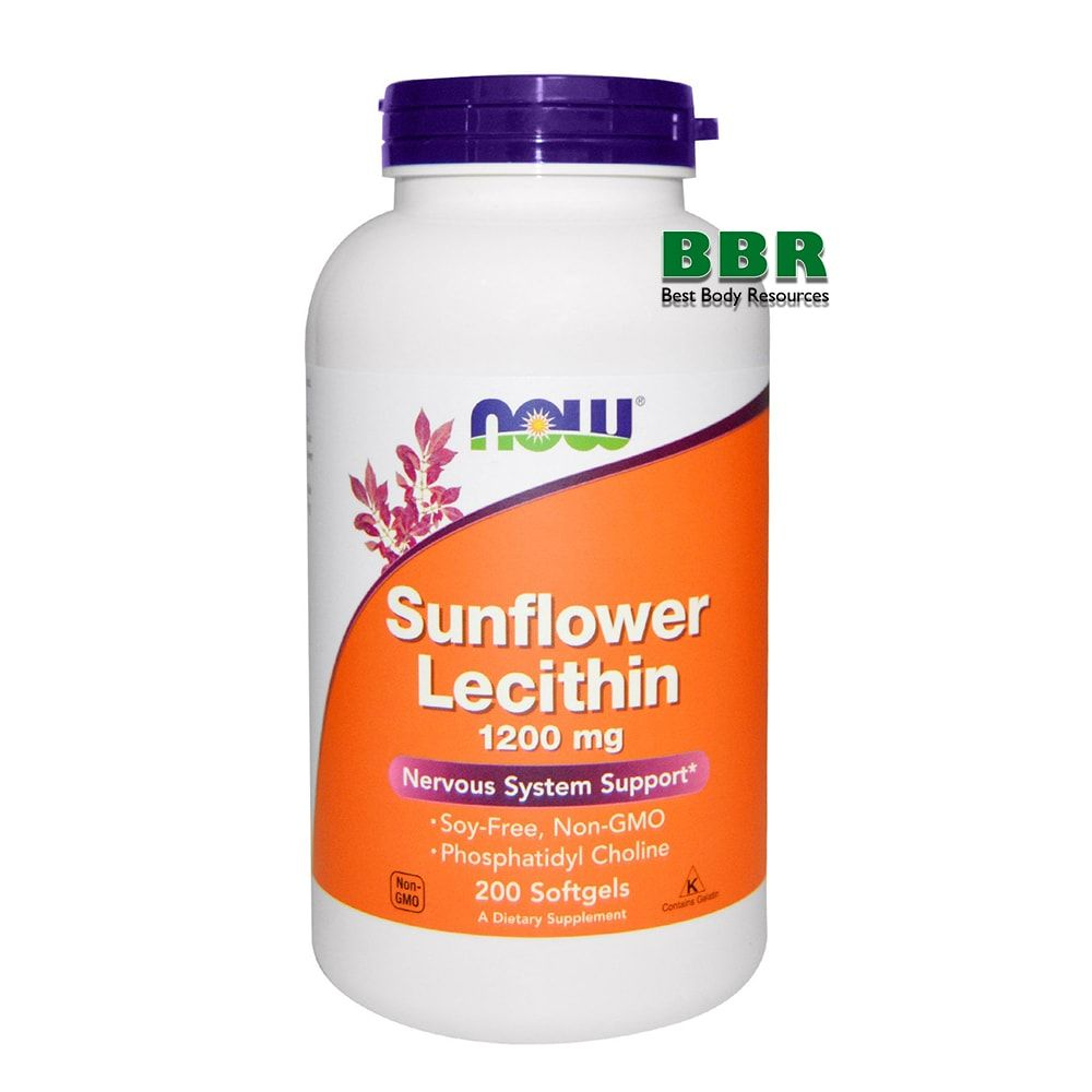 Sunflower Lecithin 1200mg 200 Softgels, NOW Foods