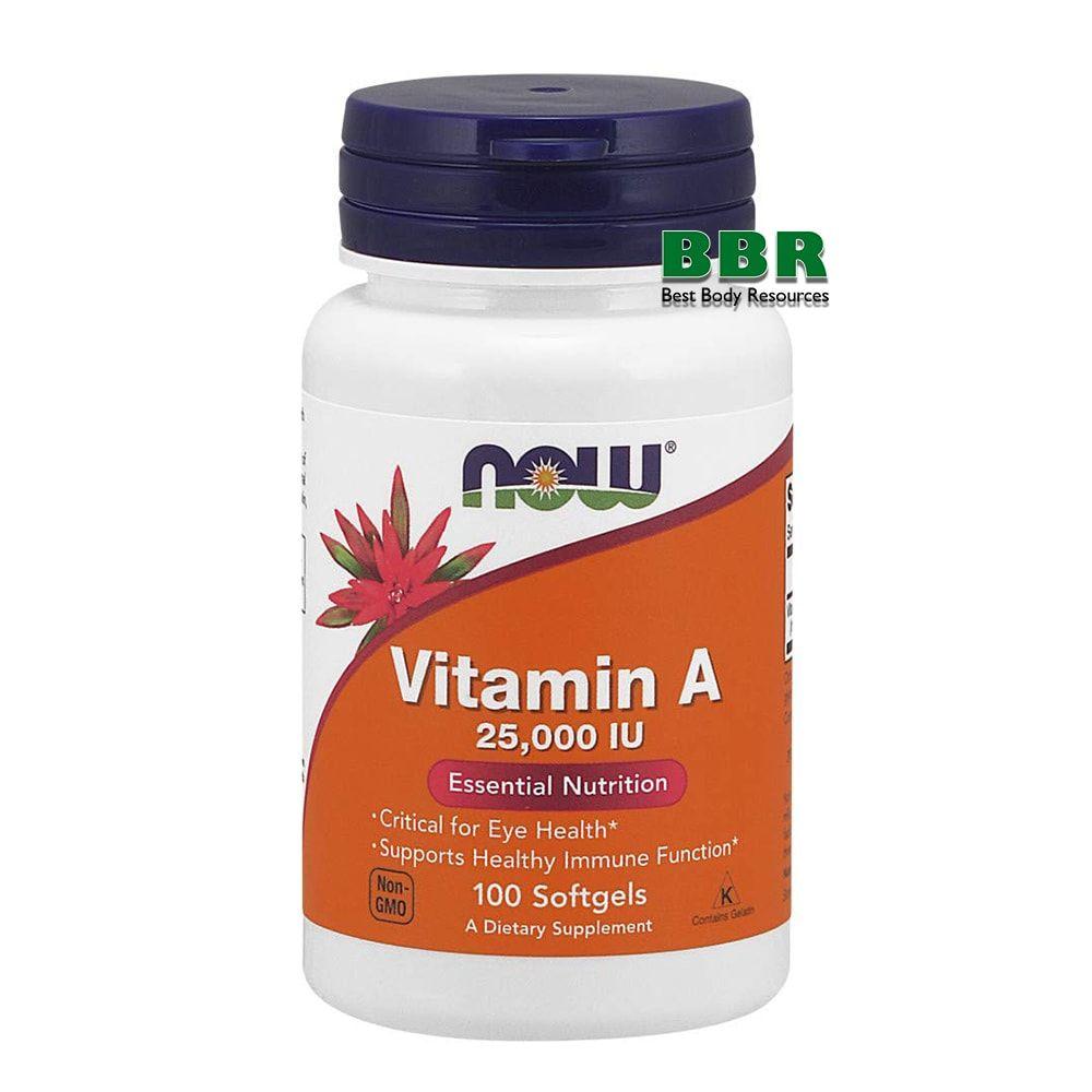 Vitamin A 25000IU 100 Softgels, NOW Foods