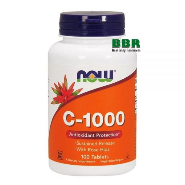 Vitamin C-1000 With Rose Hips 100 Tab, NOW Foods