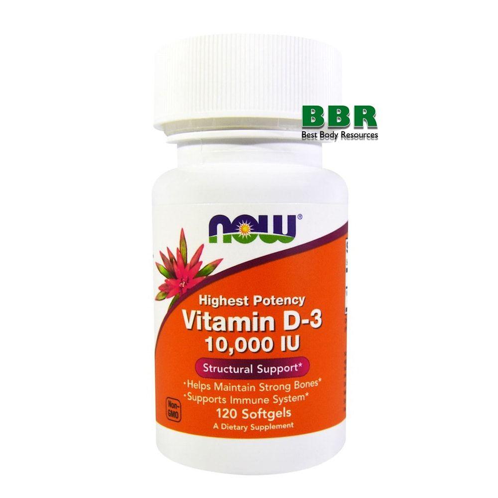 Vitamin D-3 10000IU 120 Softgels, NOW Foods