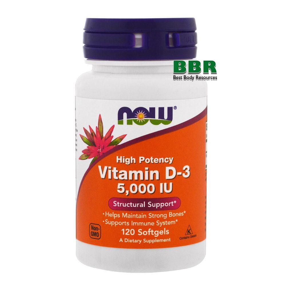 Vitamin D-3 5000IU 120 Softgels, NOW Foods