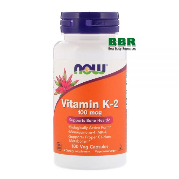 Vitamin K-2 100mcg 100 Caps, NOW Foods