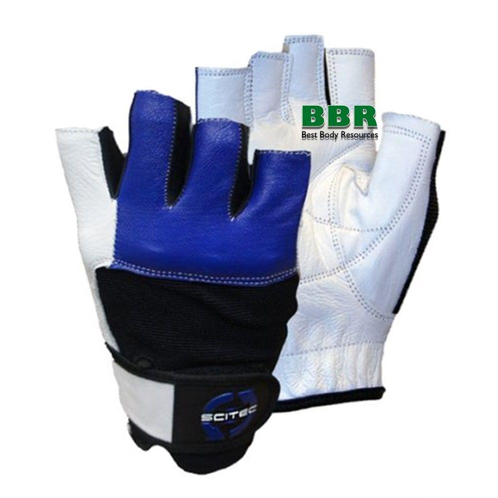 Перчатки Gloves Power Blue With Wrist Wrap, Scitec Nutrition