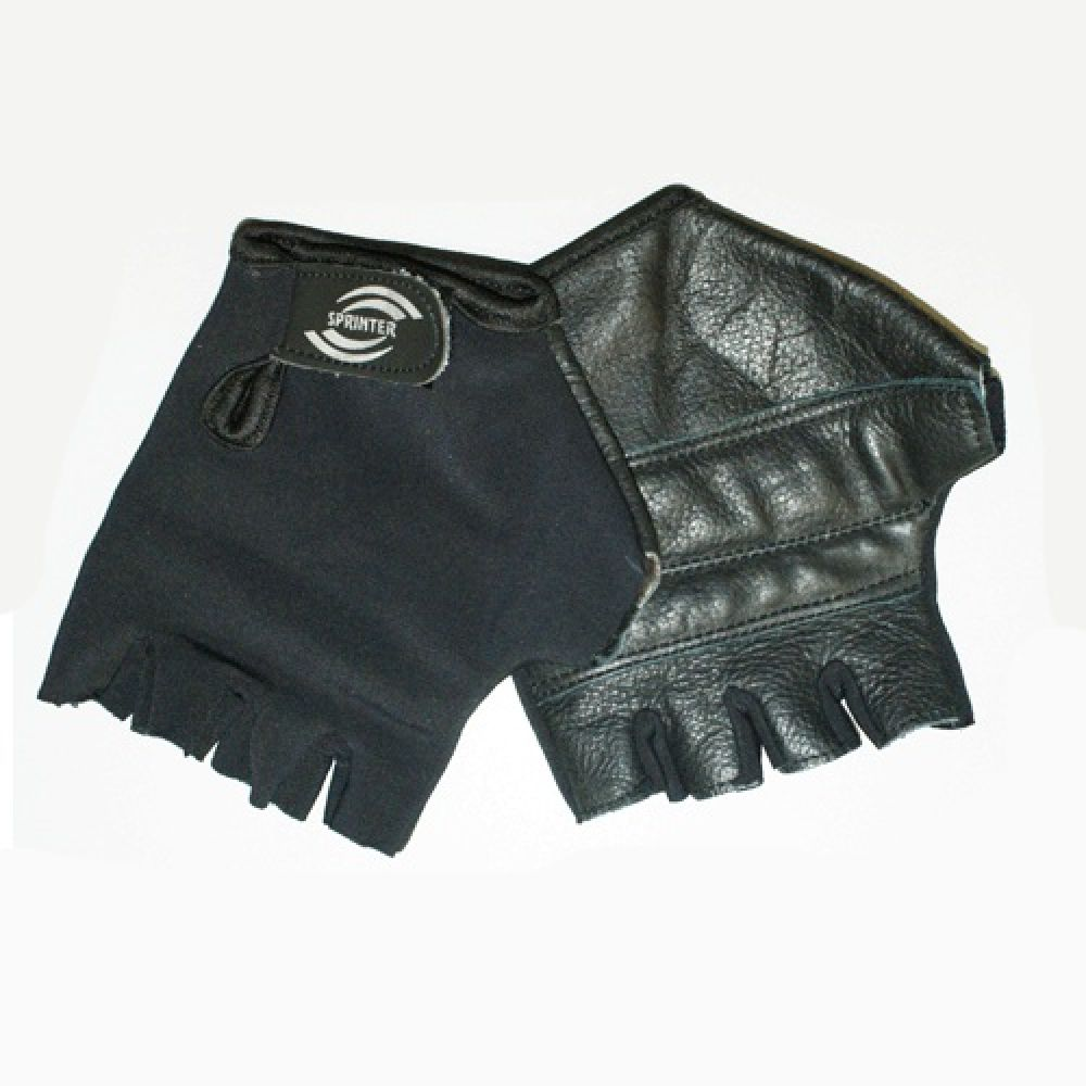 Перчатки черные Эластик/Кожа, Sprinter