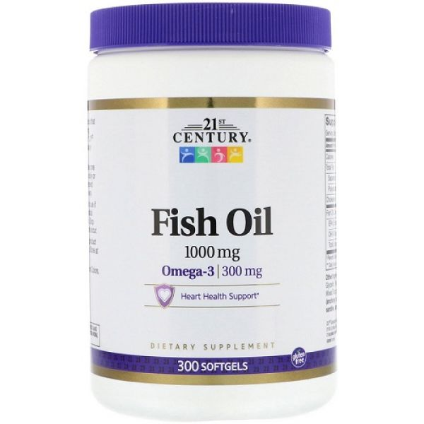Fish Oil 1000mg 300 softgels, 21st Century