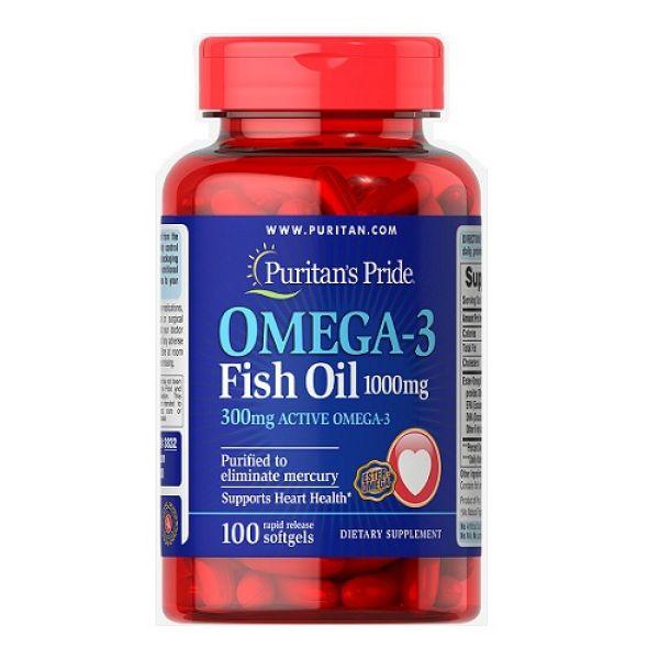 Omega 3 Fish Oil 1000mg 100 Softgels, Puritans Pride