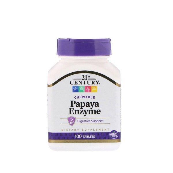 Papaya Enzyme 100 Tabs, 21st Century