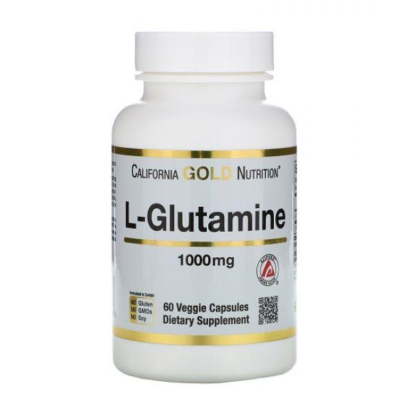 L-Glutamine 1000mg 60 Veg Caps, California GOLD Nutrition
