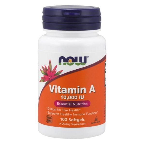 Vitamin A 10000IU 100 Softgels, NOW Foods