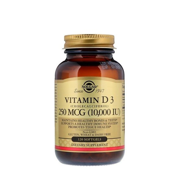Vitamin D-3 (Cholecalciferol) 10000iu 120 Softgels, Solgar